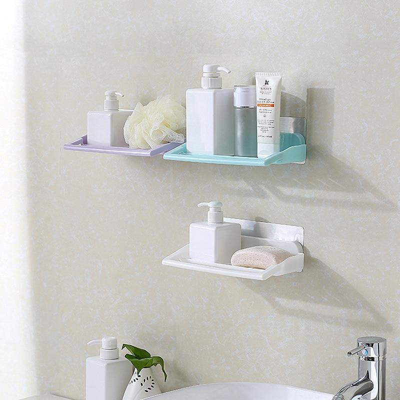 Punch-free Bathroom Shelf Kitchen Without Trace Storage Racks Toilet Vanity Wall Storage Shelf Double Sucker Storage Holders