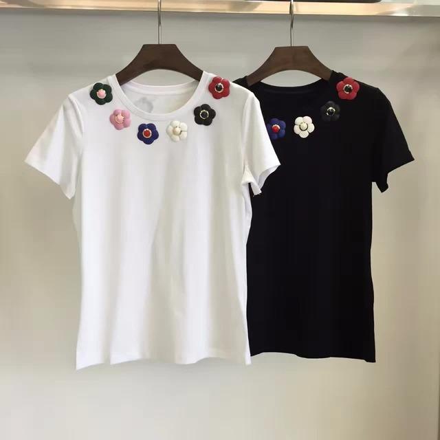 Nueva Llegada 2017 Flores de Colores de Algodón de Manga Corta T-shirt Mujeres T-shirt 161215YD02
