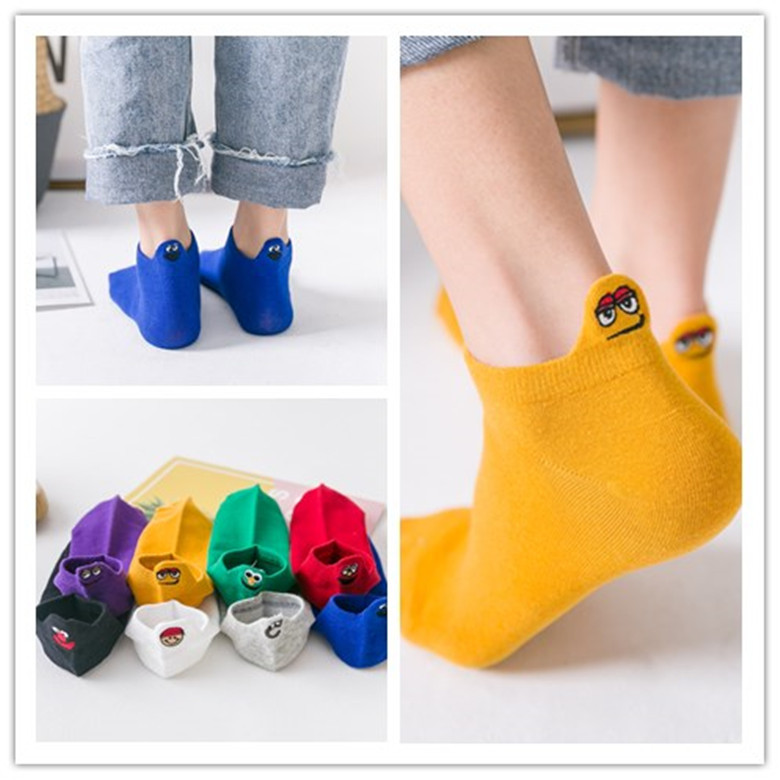 2019 fashion women cute sesame street anime   socks   fun cartoon pattern summer ankle   socks   casual happy woman   socks