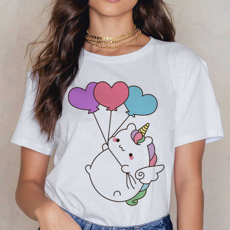 Unicornio Unicorn T Shirt Women Kawaii Harajuku T-shirt Ullzang Short Sleeve for Girl Tshirt Top Tees Summer Fashion Female Cute