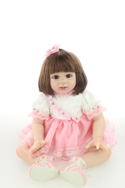 NPK Reborn Baby Dolls 24 inch Silicone Realistic Soft lovely Girl Rooted mohair Lifelike Toddler model Toys Kids playmates
