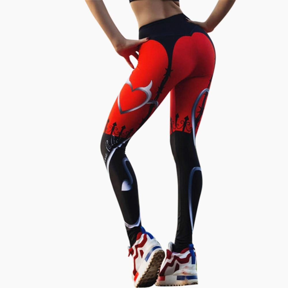 Yeni seksi kalp baskı tayt kadınlar kırmızı siyah Patchwork spor pantolon moda baskılı kadın spor tayt