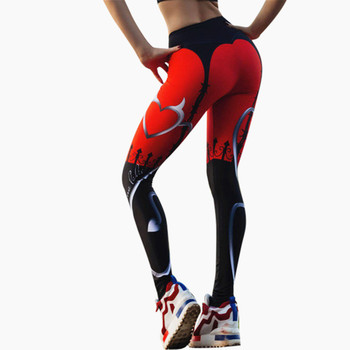 Nowe seksowne legginsy z nadrukami w kształcie serca damskie czerwony czarny patchworkowy sportowe spodnie nadrukowana moda damska legginsy Fitness tanie i dobre opinie WOMEN Qickitout Wysoka Dzianiny Poliester spandex Drukuj STANDARD Kostek JK2-006 Streetwear