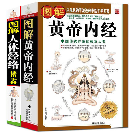 The Yellow Emperor's Classic Of Internal Medicine Book + Graphic Illustration Of Human Chinese Traditional Herbal Medicine Book