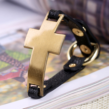 Черный Браслет из натуральной кожи с золотым крестом в стиле панк, популярные ювелирные изделия для женщин, Новое поступление, регулируемые браслеты Pulseras Mujer