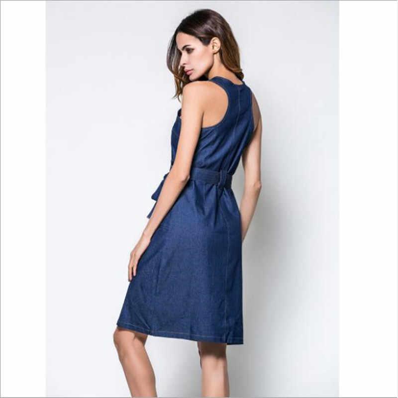 2019 летнее платье джинсовый жилет тонкий моды Повседневное молнии Разделение джинсы с кроем для женщин платья для женщин; Большие размеры женская одежда QC782