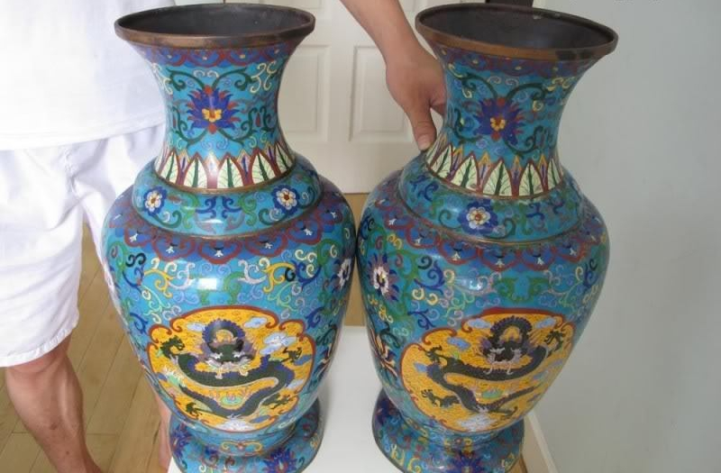 20 Chinese Royal Palace Bronze Copper cloisonne enamel Luky Six Dragon Vase Pair 8.02