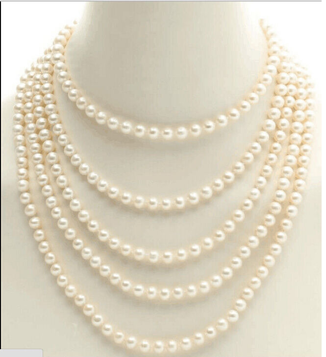 single strands 8-9mm south sea round white pearl necklace100 inch 14k Gold Clasp