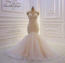 Amanda design vestido de noiva cintas de espaguete renda apliques pérolas sereia champanhe 2019 vestido de casamento