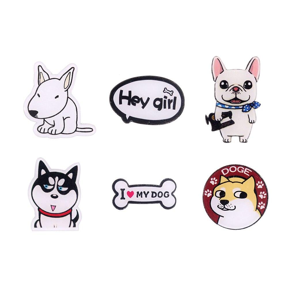 Japan Harajuku Cute Dog Cartoon Pin Acrylic Brooch Animal Shaped Unisex Garment Fashion Jewelry