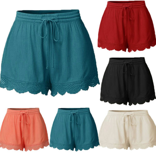 Plus Size Summer Beach Women Casual Shorts Elastic High Waist Lace Plus Size Loose Soft Hot Shorts Ladies Fashion Cotton Shorts