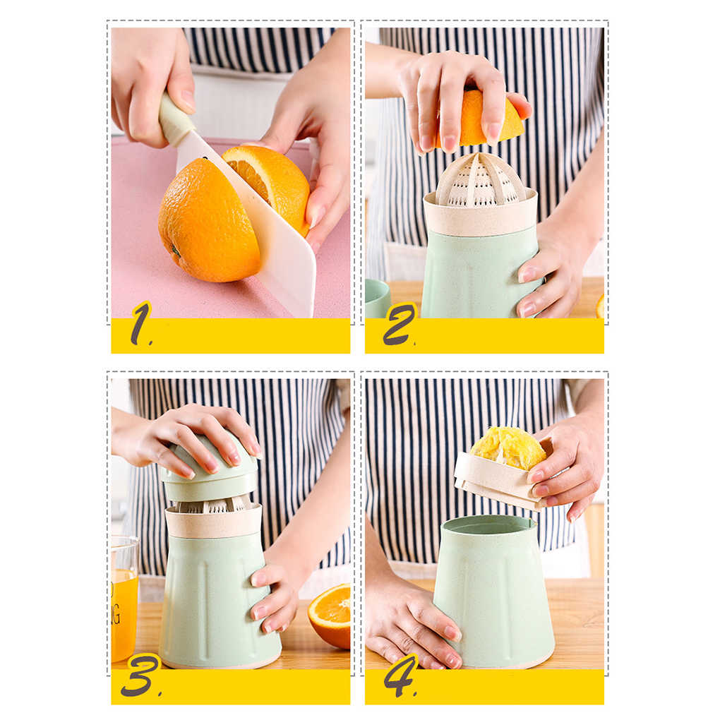 Palha de trigo Mini Manual de Imprensa Espremedor de Citrinos Limão Copo Pega Portátil Garrafa Espremedor De Laranja