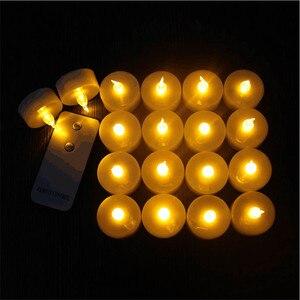 Opakowanie 12 migających elektronicznych świeczki bezpłomienne led pilot Glow Tea Light Amber na wesele Xmas Deco