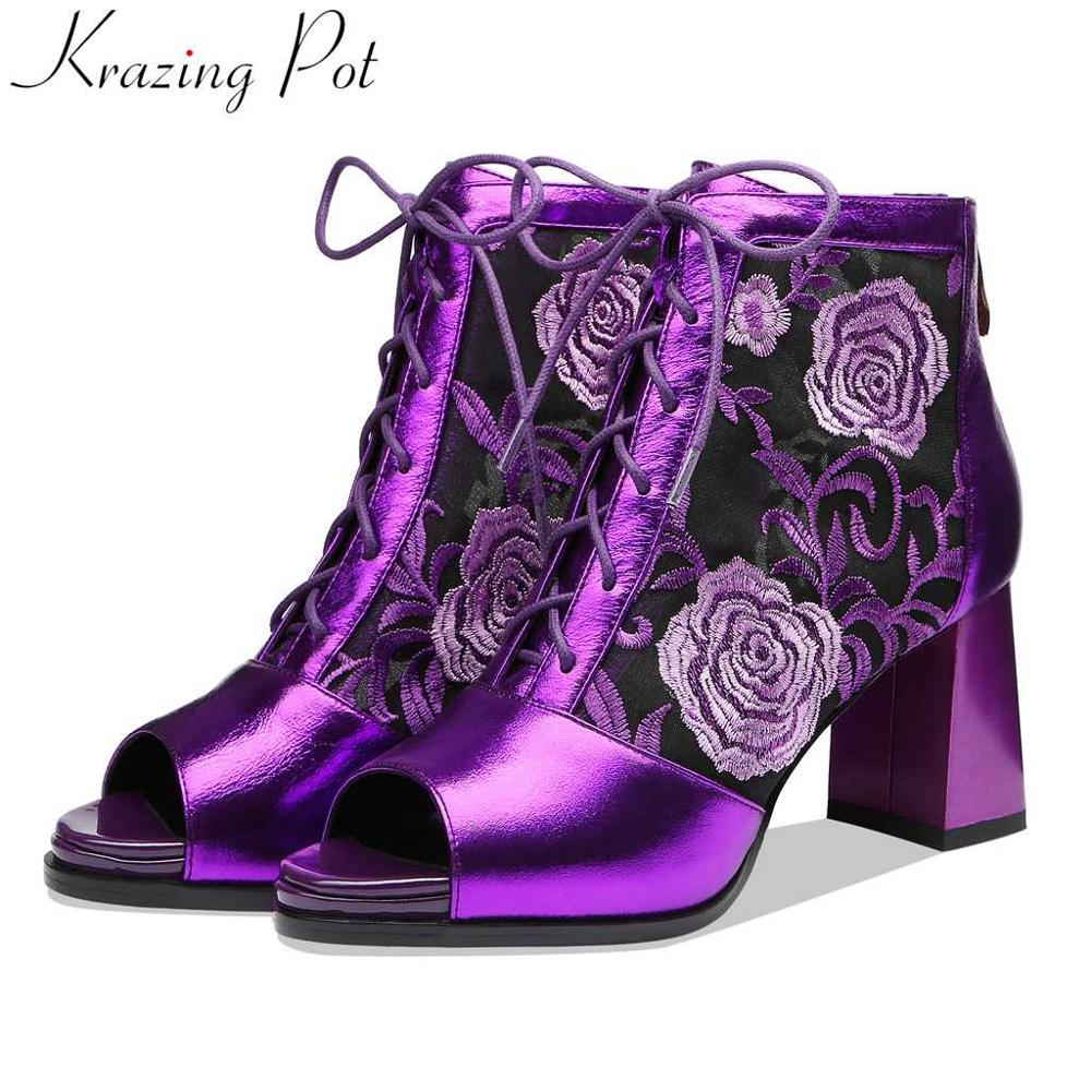 Limited customization oriental embroidery cow leather plus size breathable peep toe zipper Autumn Summer Chelsea ankle