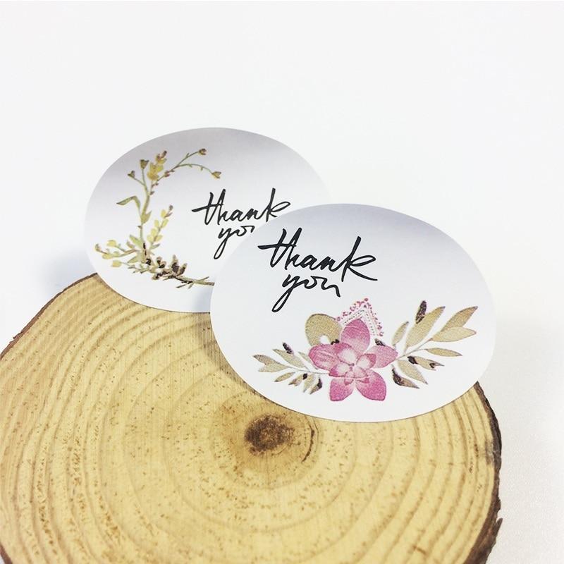 120pcs/lot 'thank You' Flower Elliptical Retro Seal Stickers Wedding Decoration Birthday Cookie Cake Gift DIY Scrapbooking Label