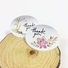 120pcs/lot thank you Flower Elliptical Retro Seal Stickers Wedding Decoration Birthday Cookie Cake Gift DIY Scrapbooking Label