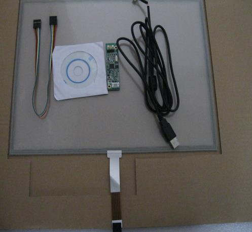 17 colių 355 mm * 288 mm jutiklinis ekranas su 4 laidų varžiniu jutikliniu ekranu su USB prievado valdikliu + jutikliniu kortele + CD kambariu