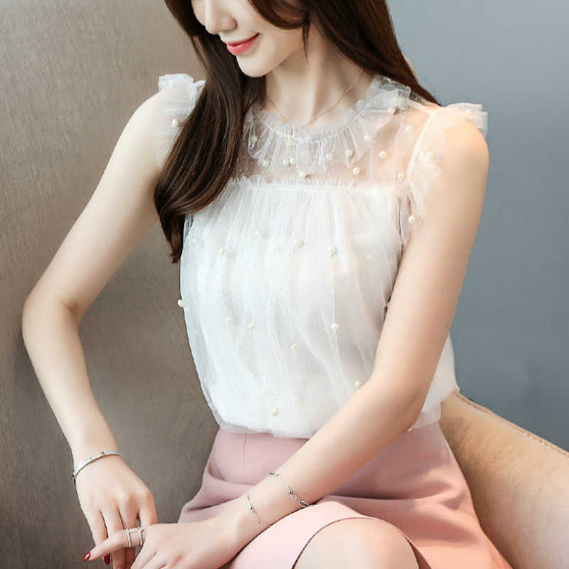 Fashion womens tops and blouses 2019 blouses sexy sleeveless beading hollow lace women blouse for women shirts white 4434 50