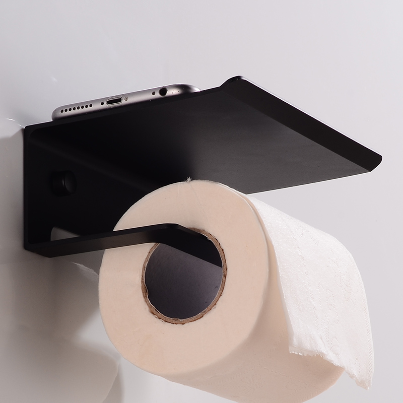 Creative Toilet Paper Holder with Shelf Aluminum Bathroom Tissue Roll Paper Holder Black Paper Towel Holder Rack Wall Mounted in Paper Holders from Home Improvement