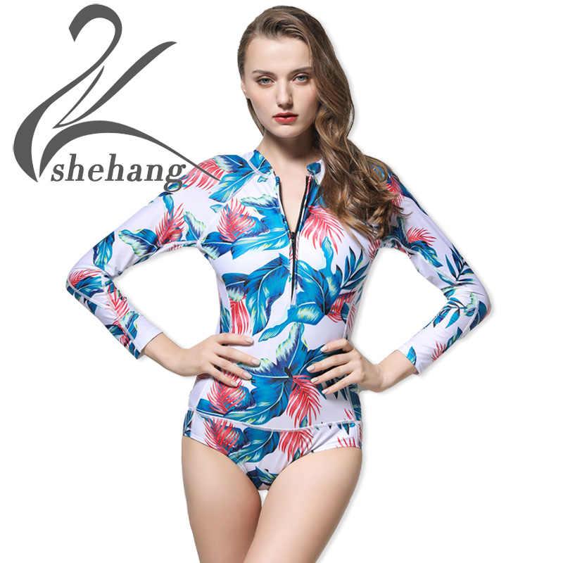e072f61568 Floral Print One Piece Swimsuit Long Sleeve Swimwear Women Bathing Suit  Retro Swimsuit Vintage One-