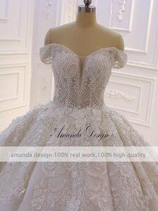 Image 3 - Robe mariage fora do ombro manga curta rendas apliques 3d flor vestido de casamento luxo