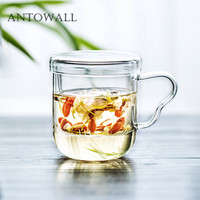 ANTOWALL Heat insulating transparent glass fruit scented tea mug double office filter glass tea water cup with lid