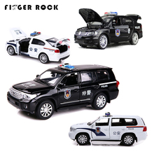 1:32 Simulation Land Cruiser Police Auto Toys Diecast Alloy Metal Car Model Pull Back Vehicle With Light Toys For Children Gifts