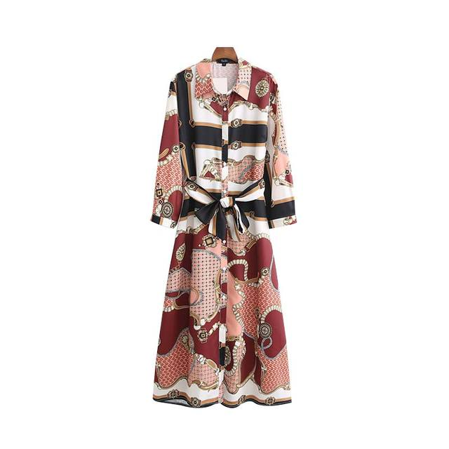 Women Chain Print Shirt Dress Bow Tie Sashes Long Sleeve Maxi Dress Casual Vintage Chic Long Dresses Vestido Qb285
