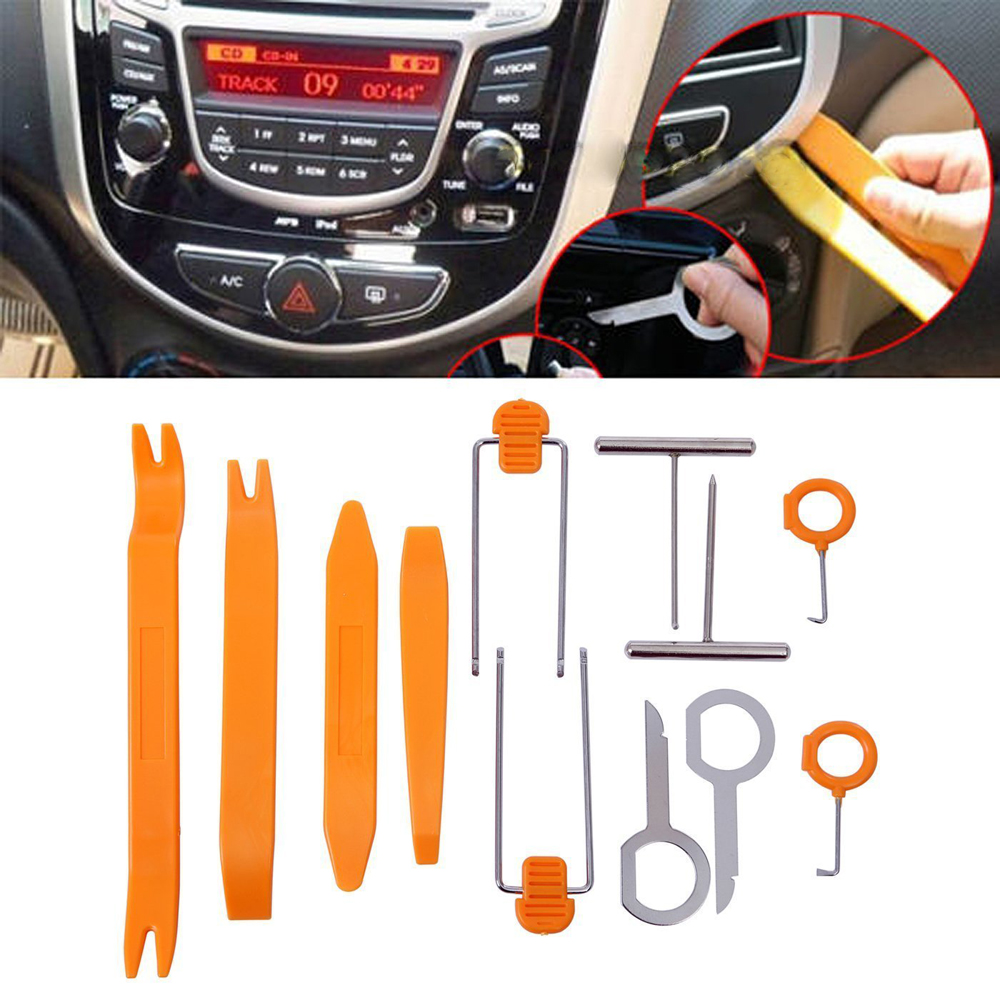 Super PDR 12pcs Car Stereo Installation Kits Car Radio Removal Tool Car Radio Panel Door Clip Panel Trim Dash Audio Removal