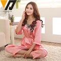 Mulheres pijamas de seda de cetim três quartos mangas definir v-neck roupa superior e inferior dormir 4 cores