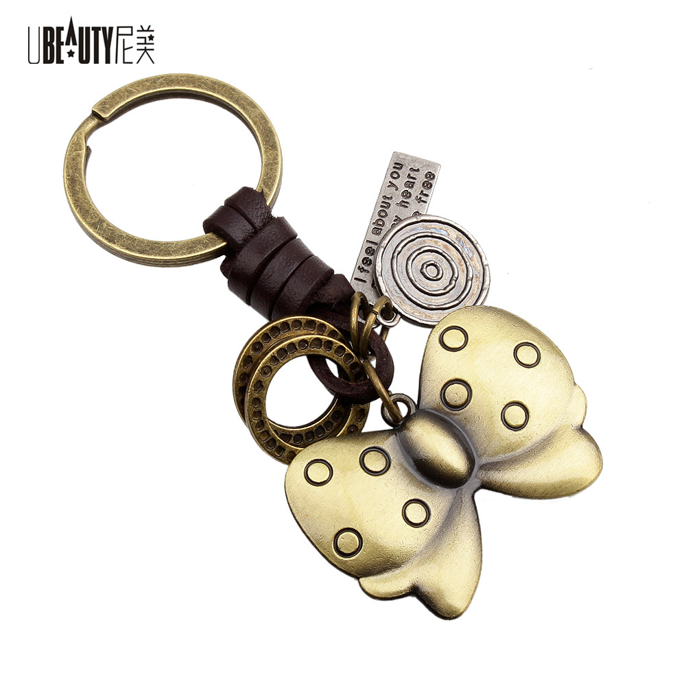 UBEAUTY Design Cool Personality Luxury Manual Leather Metal Bowknot Keychain Car Key Chain Key Ring Birthday Gift For Women Men