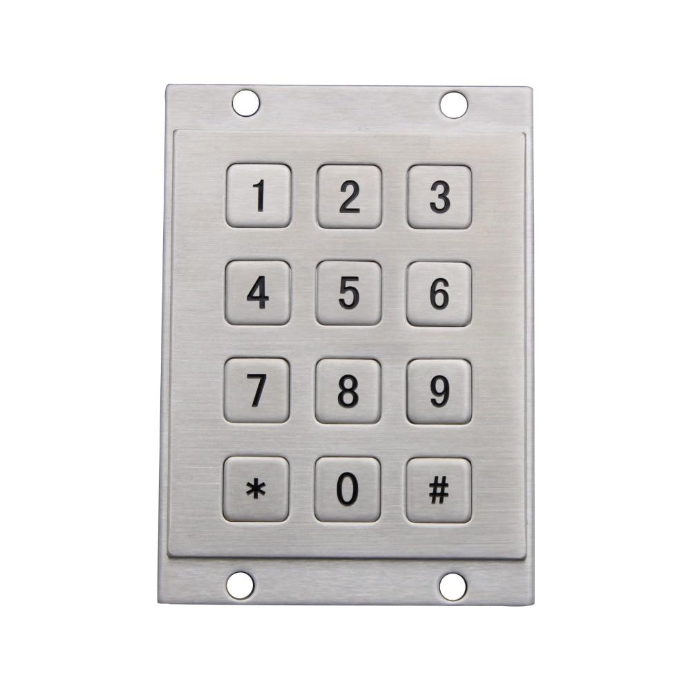 Metal USB Keyboard With 12 Keys 3x4 Keypad Industrial Mini Keyboard Stainless Steel Kiosk Numeric Keypad