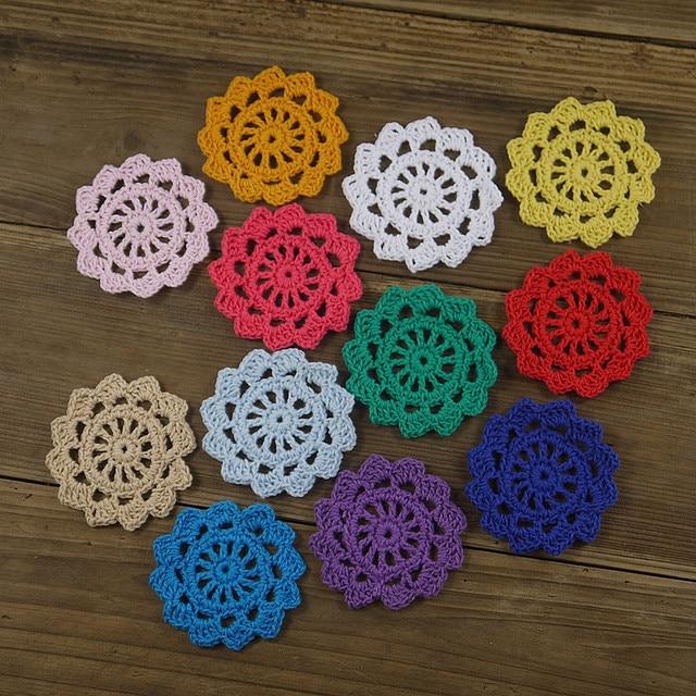 Handmade crochet diy lace flower 5cm 2 crochet applique multicolor cartoons wheel warm home - Decoration au crochet ...