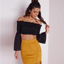 FFTAIQI street fashion spring summer Ruffles midriff chiffon woman blouse sweet elegant classic Flare Sleeve women short shirts