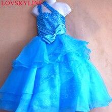 Изготовленное на заказ платье трапециевидной формы с одним плечом и цветочным узором для девочек милое детское платье до пола первого класса Sky738