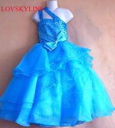 Индивидуальный заказ Онлайн одно плечо платье с цветочным узором для девочек длиной до пола, прекрасный первый класс Kid платье sky738