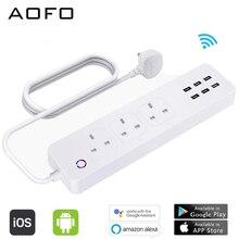 Smart WiFi multiprise APP télécommande vocale contrôle individuel avec Amazon Alexa Google accueil Assistant 3 UK smart socket 6 port USB