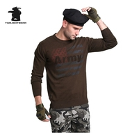 סוודר של גברים צבאיים החדשים סתיו איכות גבוהה אופנה 100% כותנה בתוספת גודל מקרית סוודרי גברים סריגי M ~ 4XL CY8F12011