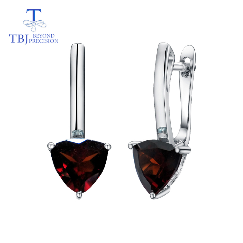 TBJ Natural garnet triangle 7 0mm earring gemstone 925 sterling silver fine jewelry simple design for