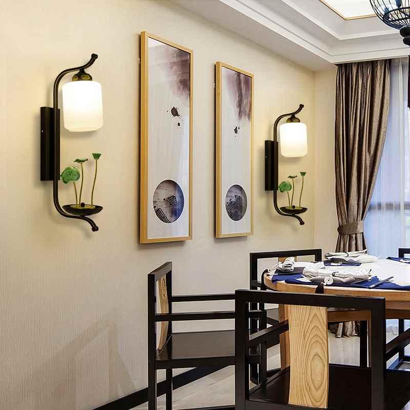 study living tv wall background elegant warm lamp chinese aisle lights lighting lamps led bedside corridor indoor