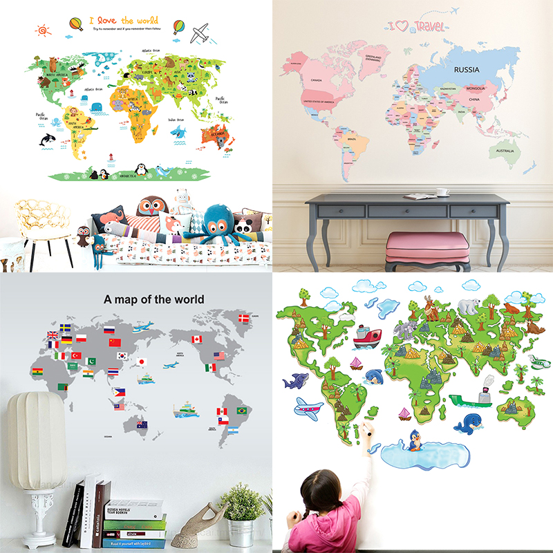 Best Offer #1ed82 - World Map On The Wall Map Wall Stickers ...