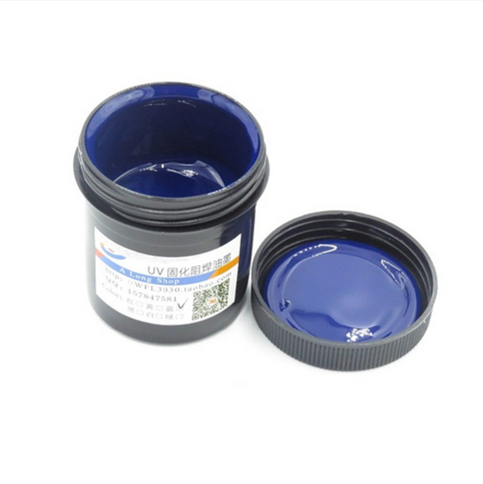 2017 New PCB UV photosensitive inks Blue PCB UV curable solder resist ink solder mask UV ink Free Shipping uv solder resist for pcb fbc board 10ml