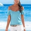Лето С Коротким Рукавом Футболка Solid Blue Beach Свободные Женщины Дамы Топ