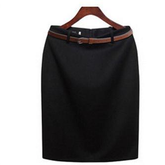 O envio gratuito de preto, cinza, vermelho, camelo, azul, verde plus size formal do escritório de negócios saia lápis terno mulheres saias com cinto grátis