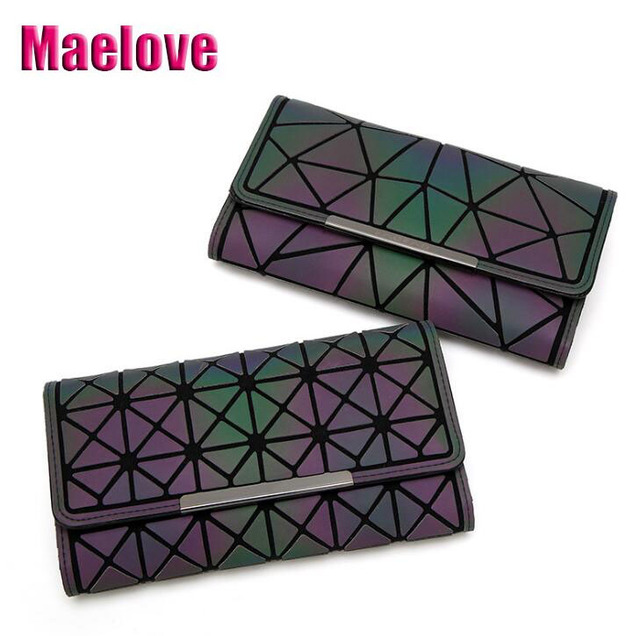 Maelove Geometric wallet women's clutch handbag luminous wallet Geometry lattic purse hologram /noctilucent bag Free Shipping