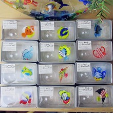 Manufacturer production! Hand melted Mini color glass handicraft aquarium floating ball decorative glass fish sculpture melted gruyere gruyere