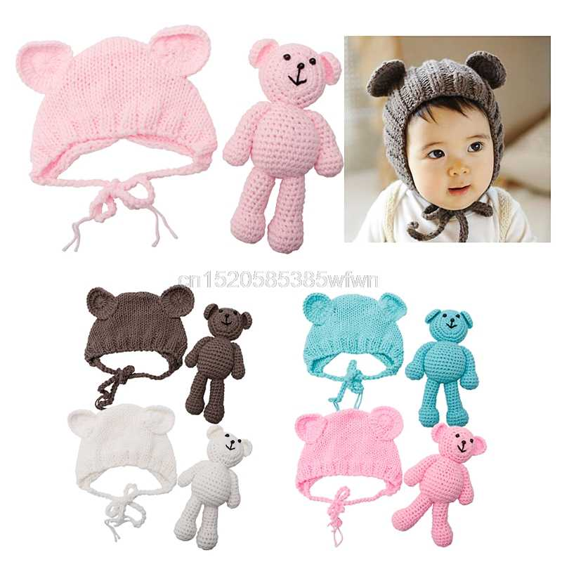 Newborn Baby Girl Boy Photography Prop Photo Crochet Knit Costume Bear +Hat Set #HC6U# Drop shipping
