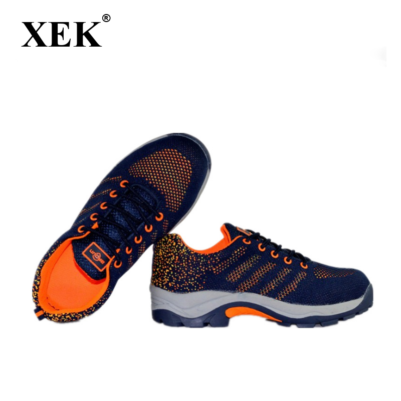 XEK Men Fashion Large Size Breathable Mesh Steel Toe Caps Work Safety Summer Shoes Non-slip Platform Tooling Boots wyq05 цена 2017