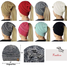 1c55da61166 Women Ponytail Beanies Caps Casual Crochet Knitted Hat Casual Solid Color  Hat Winter Autumn Warm Skullies