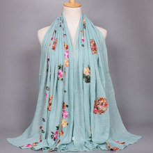 H1173a new style cotton embroidery muslim long scarf,popular hijab scarf,free shipping,,can choose colors